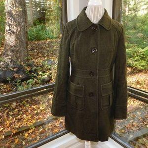 Anthropologie Tulle green wool dress coat large